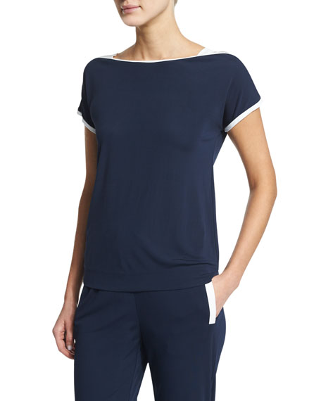 Armani Collezioni Short-Sleeve T-Shirt W/Contrast Trim, Astral