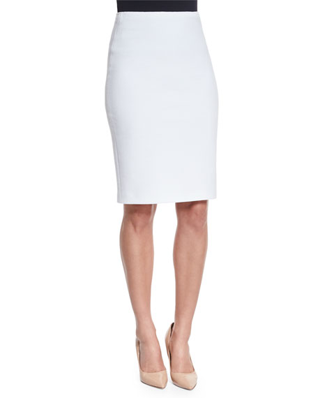 Ribbed Jersey Knit Pencil Skirt, Off White