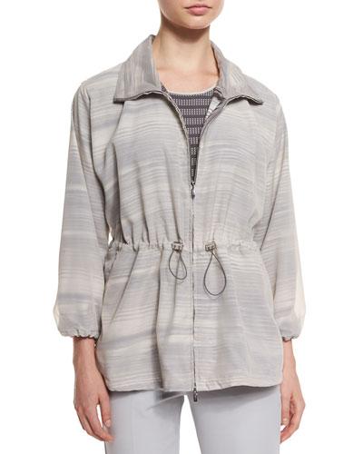 3/4-Sleeve Striped Coat, Seashell/Clay