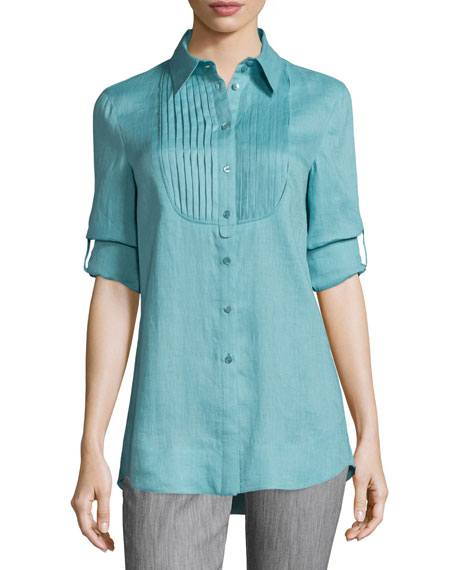Armani Collezioni Long-Sleeve Pleated-Bib Tunic, Nile Green