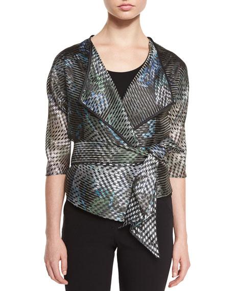 Armani Collezioni 3/4-Sleeve Sheer-Stripe Jacket, Multi Colors