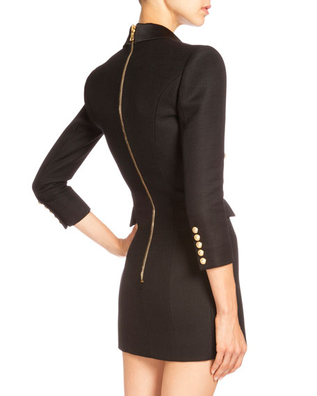 Pique-Knit Double-Breasted Blazer Dress