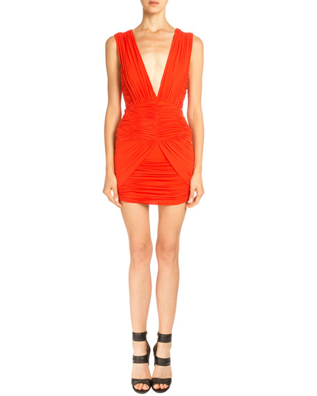 Balmain Sleeveless Ruched Mini Dress, Coral