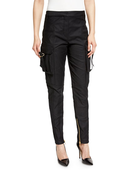 Mid-Rise Skinny Cargo Pants, Black