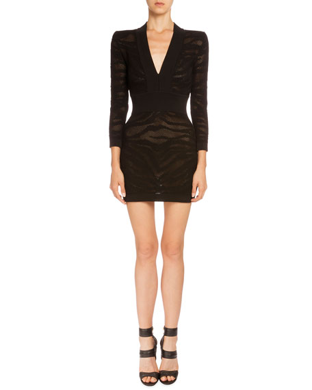 Balmain Long-Sleeve Tiger-Stripe Mini Dress, Black