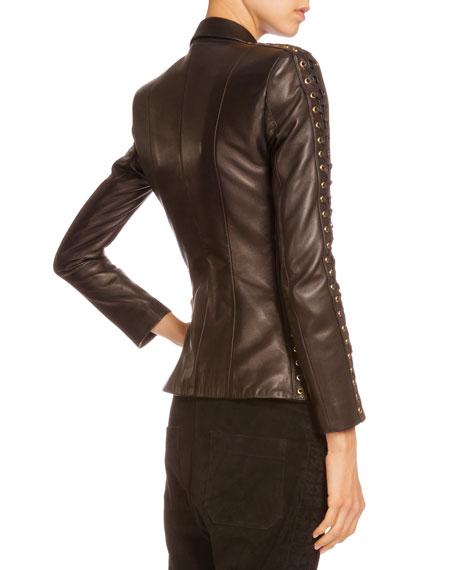 9c1bab83187 Balmain Lace-Up-Sleeve Leather Jacket