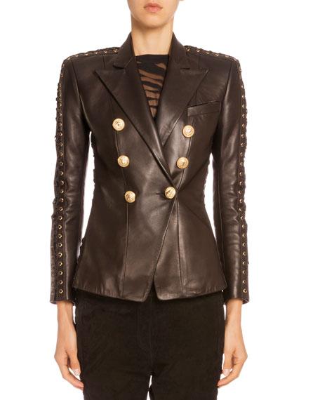 Lace-Up-Sleeve Leather Jacket, Black