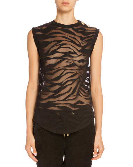 Balmain Lace-Up-Sleeve Leather Jacket, Sheer Tiger-Stripe Tee &