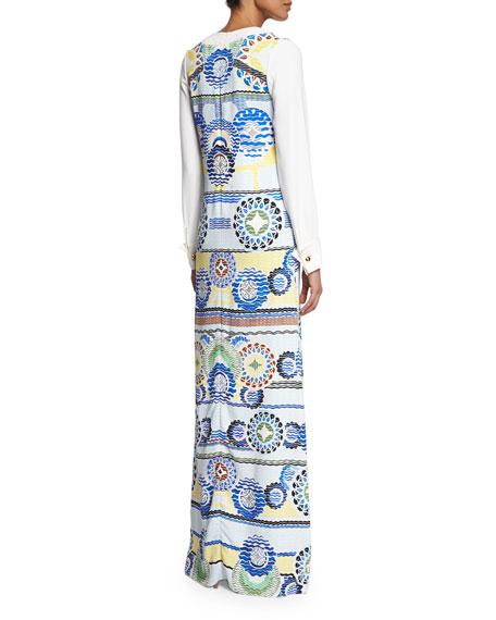 Long-Sleeve Printed Maxi Dress, White