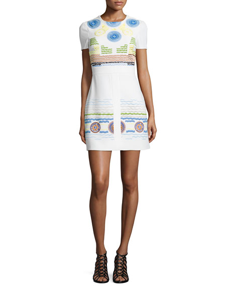 Peter PilottoEmbroidered Circle-Print Shift Dress, White