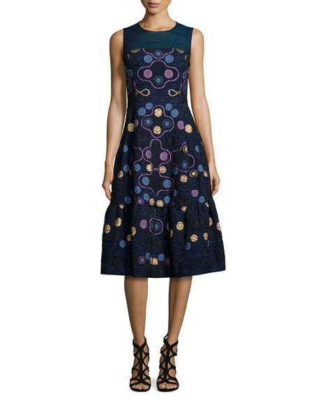 Peter Pilotto Sleeveless Embroidered Fil Coupe Dress, Navy
