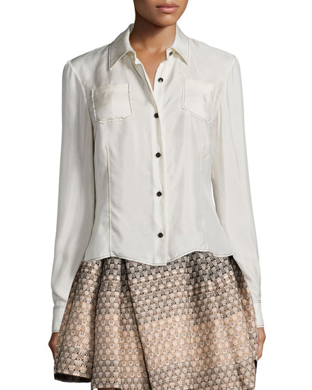Creatures of the Wind Long-Sleeve Blouse W/Contrast Stitching,