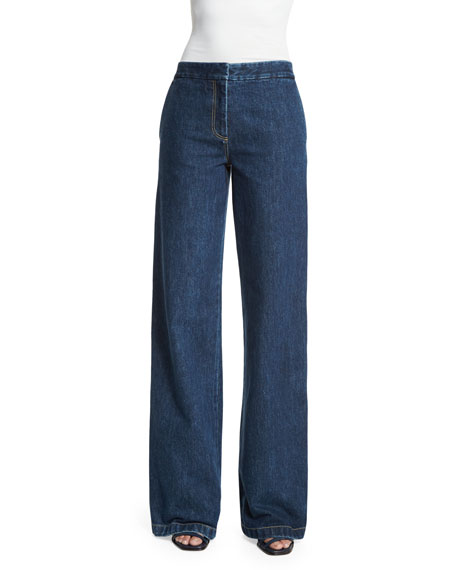 Creatures Of The Wind Flat-Front Wide-Leg Jeans, Indigo