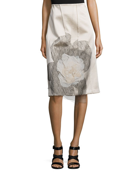 Creatures of the Wind Flower-Embroidered Pencil Skirt, Oyster
