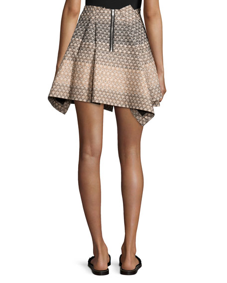 Geometric Tacked Full Skirt, Cream Fade
