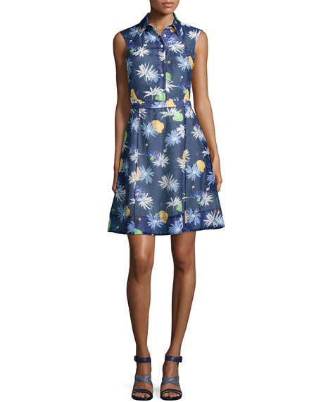 Creatures of the Wind Floral-Sweet Sleeveless Shirtdress, Navy