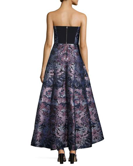 Floral-Burst Strapless Bustier Ball Gown, Lavender Multi
