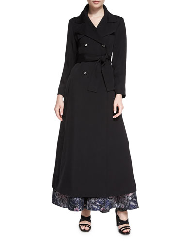 Wide-Collar Double-Breasted Trenchcoat, Black