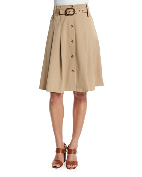 Michael Kors Collection Pleated Button-Front Belted Skirt, Dune