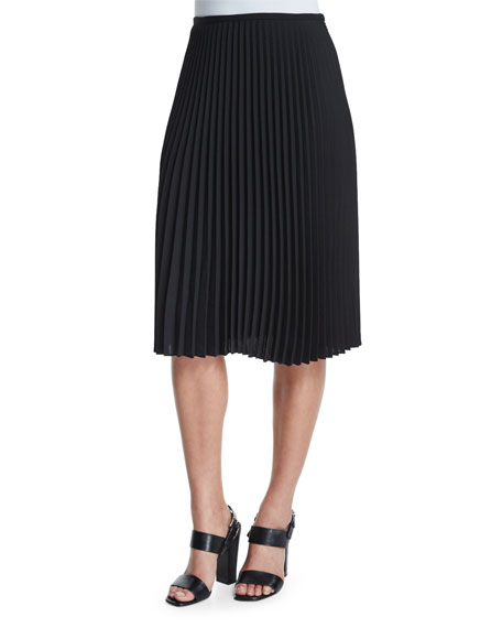 Michael Kors Collection Micro-Pleated A-Line Skirt, Black