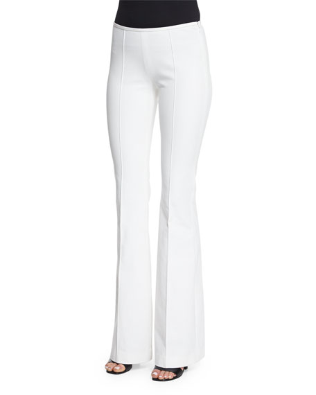 Michael Kors Collection Mid-Rise Flare-Leg Pants, Optic White
