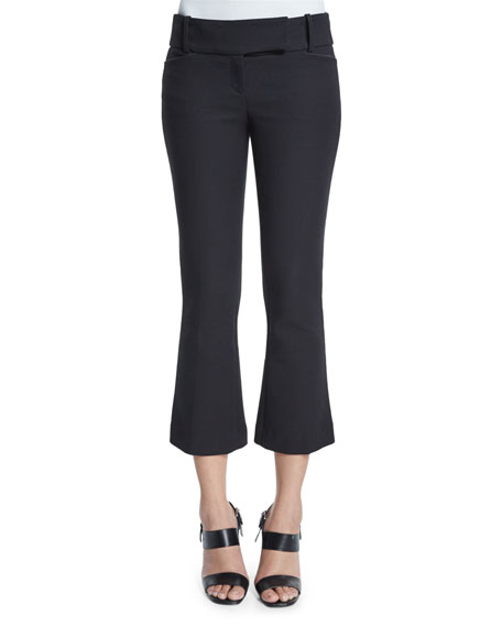 Michael Kors Flare-Leg Cropped Pants, Black