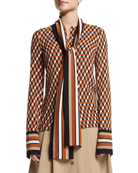Michael Kors CollectionGeometric-Print Scarf Blouse, Caramel Multi