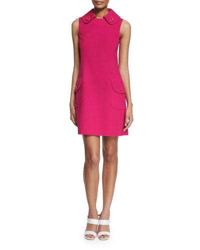 Sleeveless Collared Pocket Dress, Geranium