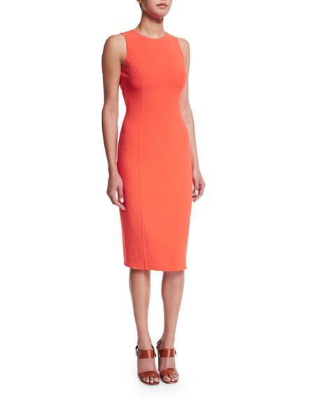 Sleeveless Jewel-Neck Sheath Dress, Persimmon