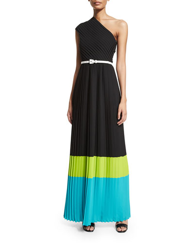 One-Shoulder Colorblock Plisse Gown, Black/Lime/Aqua