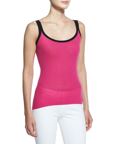 Michael Kors Collection Contrast-Trim Scoop-Neck Cashmere Tank,