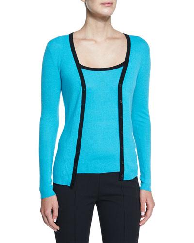 Contrast-Trim Long-Sleeve Cashmere Cardigan, Aqua