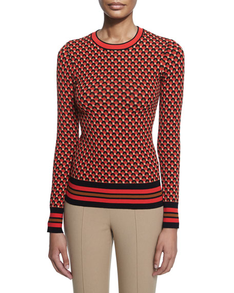 Hexagon-Print Long-Sleeve Sweater, Coral