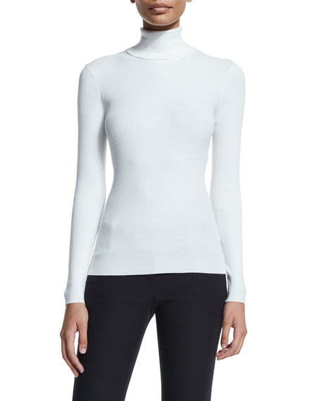 Michael Kors Collection Long-Sleeve Turtleneck Top, White