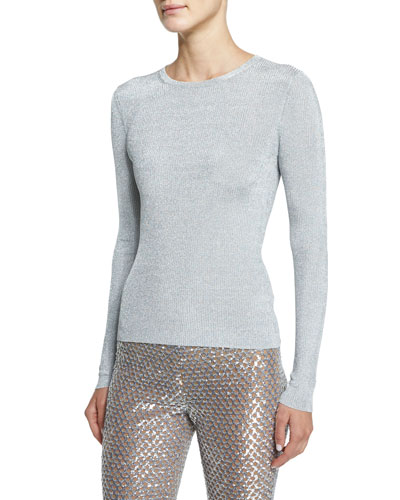 Michael Kors Collection Long-Sleeve Jewel-Neck Sweater, Silver