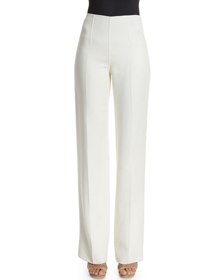 Michael Kors Collection Straight-Leg Side-Zip Pants, White