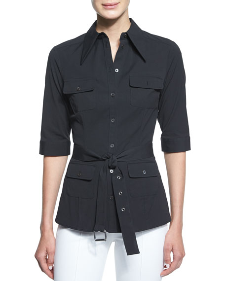 Michael Kors Elbow-Sleeve Belted Utility Shirt, Black