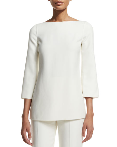Michael Kors Collection 3/4-Sleeve Boat-Neck Tunic, White