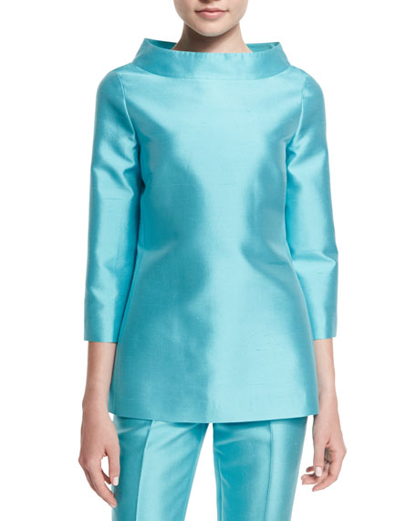 Michael Kors Collection 3/4-Sleeve Funnel-Neck Tunic, Harbor