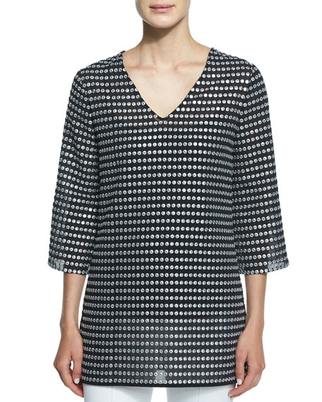 Michael Kors Collection Embroidered Metallic Dot-Print Tunic,