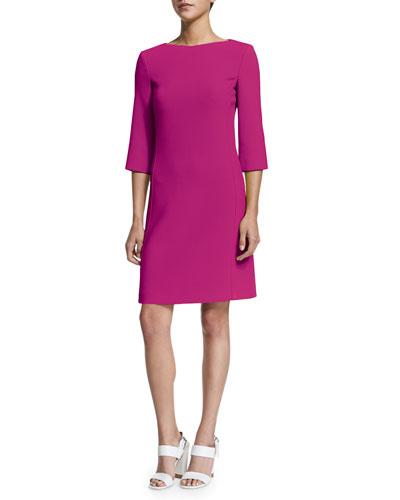 3/4-Sleeve Bateau-Neck Shift Dress, Geranium