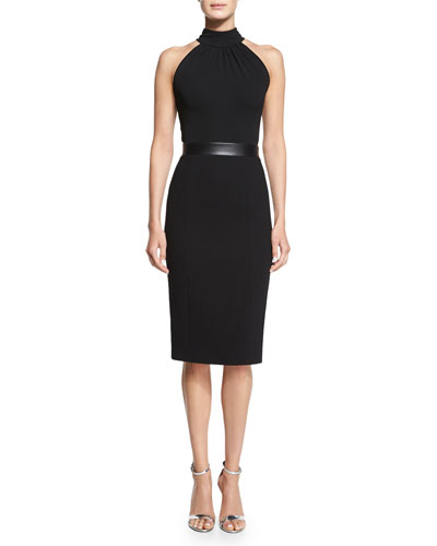 Halter-Neck Sheath Dress, Black