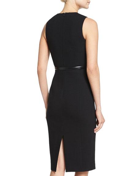 Belted Shantung Peplum Sheath Dress, Black
