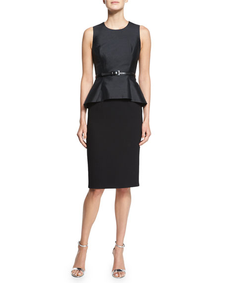 Michael Kors Collection Belted Shantung Peplum Sheath Dress,