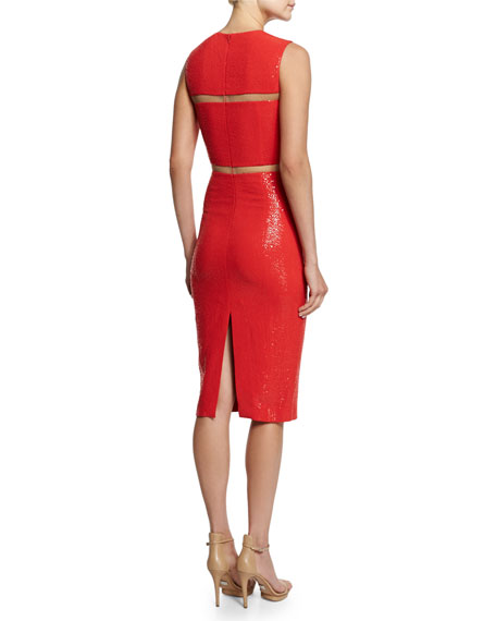 Embellished Cady Illusion Sheath Dress, Coral