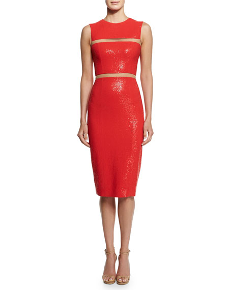 Michael Kors Collection Embellished Cady Illusion Sheath Dress,