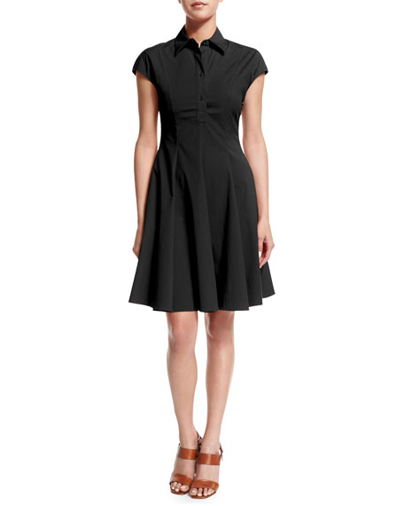 Michael Kors Collection Cap-Sleeve Fit-&-Flare Shirtdress, Black