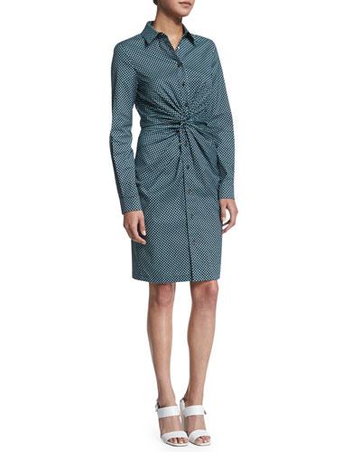 Long-Sleeve Twist-Front Shirtdress, Aqua/Multi