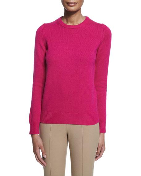 Michael Kors Collection Long-Sleeve Jewel-Neck Cashmere Sweater, Geranium