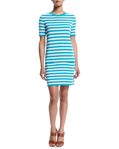 Short-Sleeve Striped T-Shirt Dress, Aqua